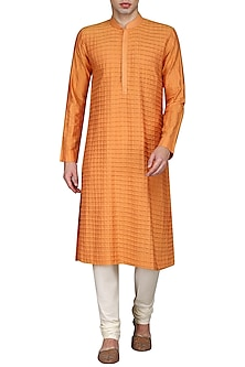 Orange Pintucks Kurta with Ivory Churidar Pants by Anuj Madaan
