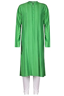 Green Thread Work Kurta with Ivory Churidar Pants by Anuj Madaan