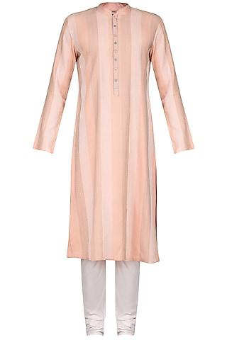 Peach Thread Work Kurta with Ivory Churidar Pants by Anuj Madaan