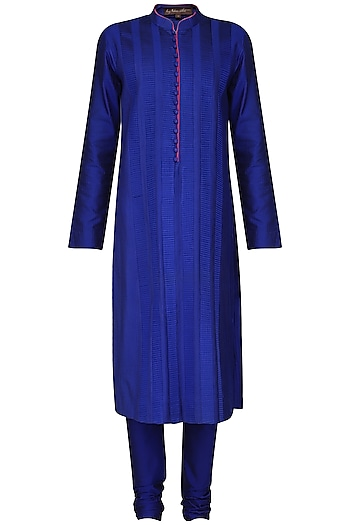 Royal Blue Pleats Kurta with Churidar Pants by Anuj Madaan