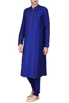 Royal Blue Pleats Kurta with Churidar Pants by Anuj Madaan