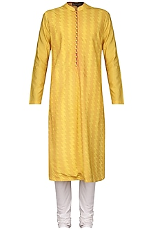 Yellow Pintucks Kurta with Ivory Churidar Pants by Anuj Madaan
