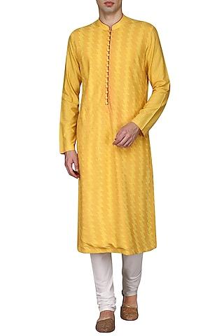 Yellow Pintucks Kurta with Ivory Churidar Pants by Anuj Madaan