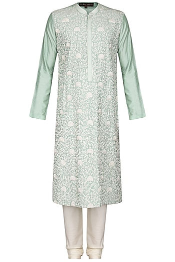 Aqua Green Jaal Work Kurta with Ivory Churidar Pants by Anuj Madaan