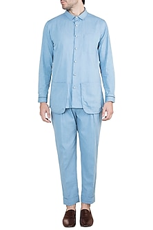 Ice Blue Denim Shirt With Pants by Ananke