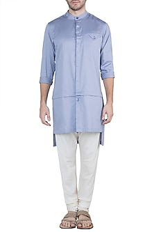 Vapour Blue Long Line Kurta by Ananke