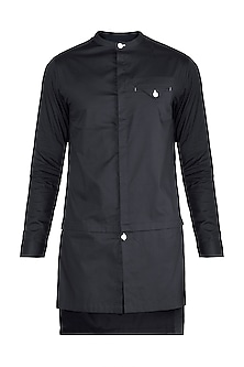Black Long Line Kurta Shirt by Ananke