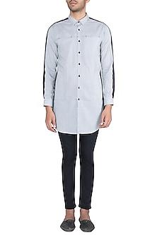 Black & White Tie-Dye Striped Kurta Shirt by Ananke
