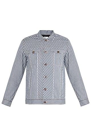 White & Black Striped Bomber Jacket by Ananke