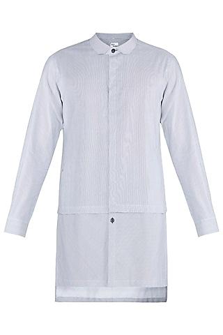 Black & White Long Line Shirt Kurta by Ananke