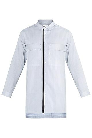 Black & White Tie-Dye Long Line Shirt Kurta by Ananke