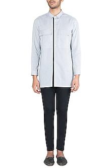 Black & White Tie-Dye Long Line Kurta Shirt by Ananke