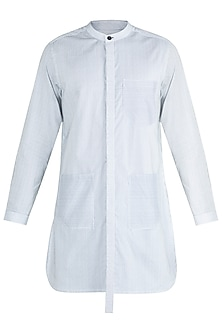 Black & White Striped Long Line Kurta Shirt by Ananke