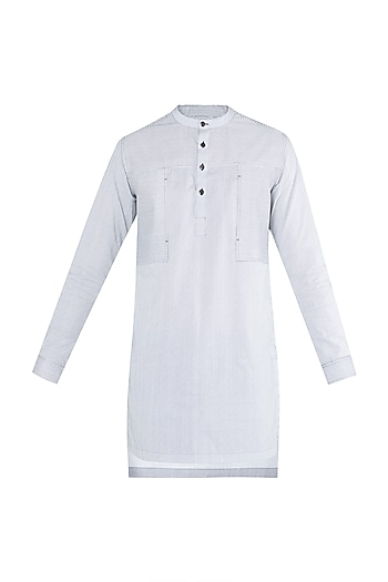 Black & White Striped Kurta Shirt by Ananke