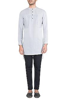Black & White Striped Kurta Shirt by Ananke