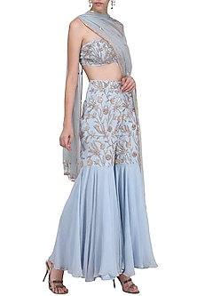 Pastel Blue Embroidered Bustier with Gharara Pants Set by Ank by Amrit Kaur