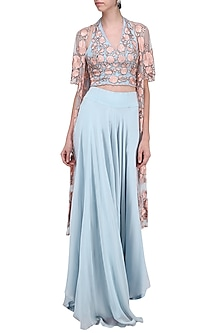 Pastel Blue Embroidered Jacket with Blouse and Palazzo Pants by Ank by Amrit Kaur