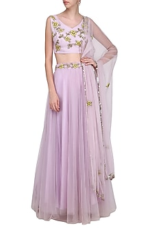 Lavender Floral Embroidered Lehenga Set by Ank by Amrit Kaur