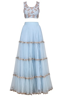 Pastel Blue Floral Embroidered Tiered Lehenga Set by Ank by Amrit Kaur