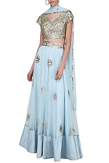 Pastel Blue and Gold Sequins Embroidered Lehenga Set by Ank by Amrit Kaur-SHOP BY STYLE