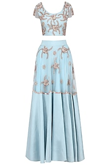 Pastel Blue Sequins Embroidered Lehenga Set by Ank by Amrit Kaur