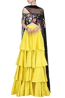Black Multi-Colour Embroidered Blouse with Yellow Ruffled Lehenga Set by Ank by Amrit Kaur