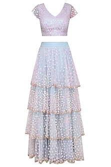 Pastel Blue and Pink Floral Embroidered Tiered Lehenga Set by Ank by Amrit Kaur