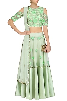 Pistachio Floral Embroidered Lehenga  and Blouse Set by Ank By Amrit Kaur