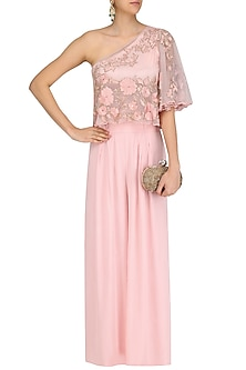Rose Pink Floral Embroidered One Shoulder Cape  and Palazzo Pants Set by Ank By Amrit Kaur