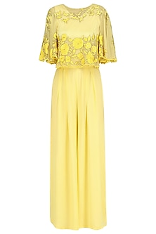 Buttercup Floral Thread Embroidered Cape  and Palazzo Pants Set by Ank By Amrit Kaur