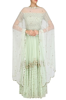 Pistachio Floral Embroidered Off Shoulder Blouse  and Lehenga Set by Ank By Amrit Kaur
