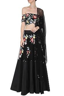 Black Floral Embroidered Off Shoulder Blouse with Lehenga Set by Ank by Amrit Kaur-SHOP BY STYLE