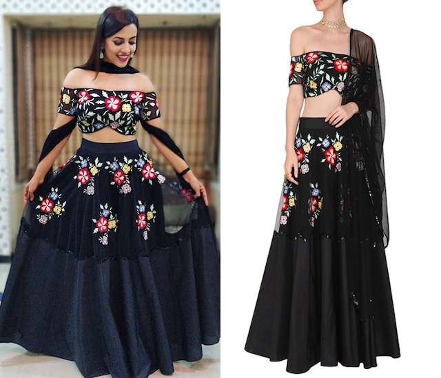 Black Floral Embroidered Off Shoulder Blouse with Lehenga Set by Ank by Amrit Kaur