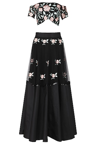 Black and Peach Embroidered Off Shoulder Blouse with Lehenga Set by Ank by Amrit Kaur