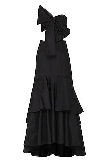 Black Bow Blouse with Ruffle Lehenga Skirt by Ank by Amrit Kaur
