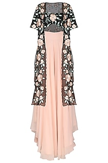 Black Floral Embroidered Jacket Blouse with Pink Palazzo Pants by Ank by Amrit Kaur