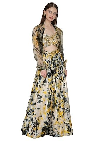Gold Tie-Dye Silk Jumpsuit With Bomber Jacket by Ank By Amrit Kaur