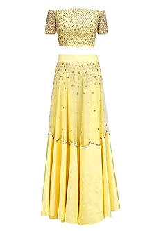 Yellow Sequins Embroidered Off Shoulder Blouse  and Lehenga Set by Ank By Amrit Kaur