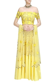 Yellow Buttercup Birds  and Floral Embroidered Off Shoulder Blouse  and Lehenga Set by Ank By Amrit Kaur