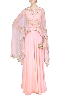 Pink Sequins  and Birds Embroidered Cape, Blouse  and Palazzo Pants Set by Ank By Amrit Kaur