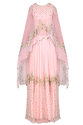 Pink Rose Pearls Flower  and Golden Birds Embroidered Cape, Blouse  and Skirt Set by Ank By Amrit Kaur