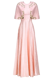 Pink  and Rose Gold Birds  and Floral Work Cape  and Gown Set by Ank By Amrit Kaur