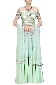 Green Sequins Embroidered Off Shoulder Blouse  and Lehenga Set by Ank By Amrit Kaur
