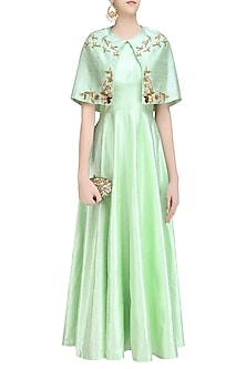Green Pistachio Gold Birds  and Floral Work Cape  and Gown Set by Ank By Amrit Kaur