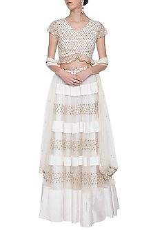 Off white and golden embroidered lehenga set by ANK BY AMRIT KAUR