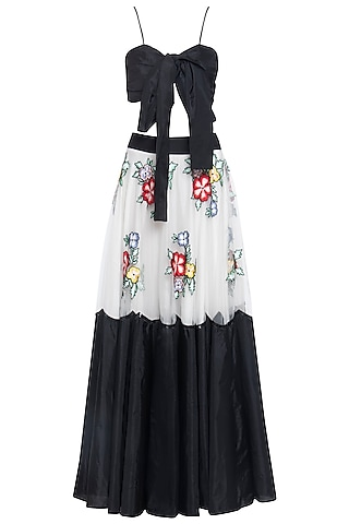 Black and white embroidered lehenga set by ANK BY AMRIT KAUR