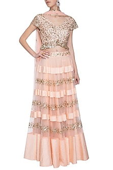 Pink embroidered lehenga set by ANK BY AMRIT KAUR
