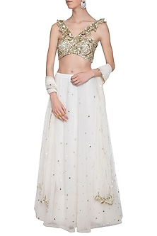 Off white embroidered lehenga set by ANK BY AMRIT KAUR-SHOP BY STYLE