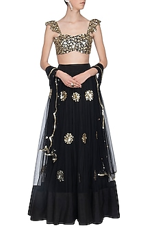 Black embroidered lehenga set by ANK BY AMRIT KAUR