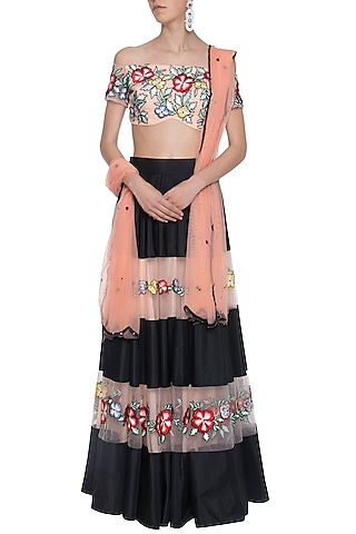 Pink and black embroidered lehenga set by ANK BY AMRIT KAUR